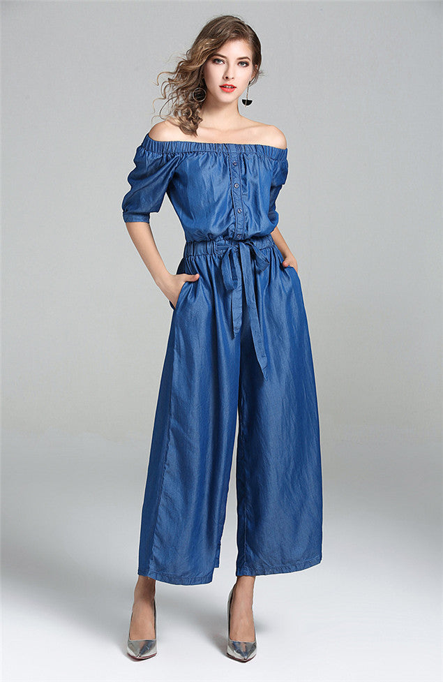 Hot Boat Neck Elastic Waist Wide Leg Jumpsuit CODE: mon499