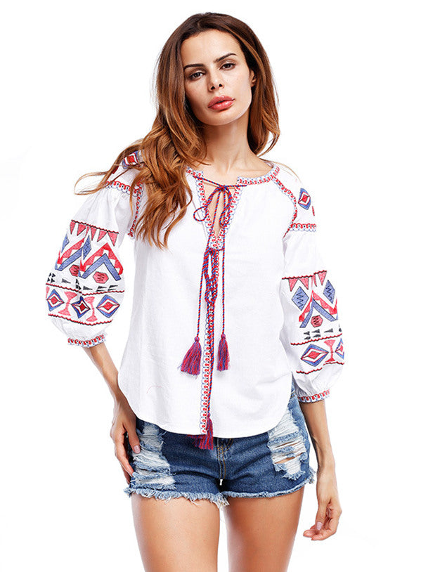 V-neck Embroidery Puff Sleeve Top Blouse CODE: mon500