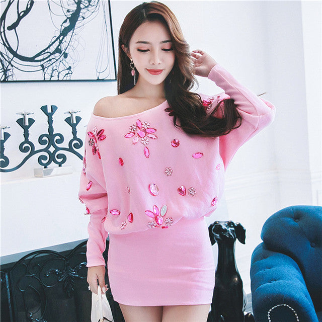 Off Shoulder Batwing Rhinestones Knit Dress CODE: mon519