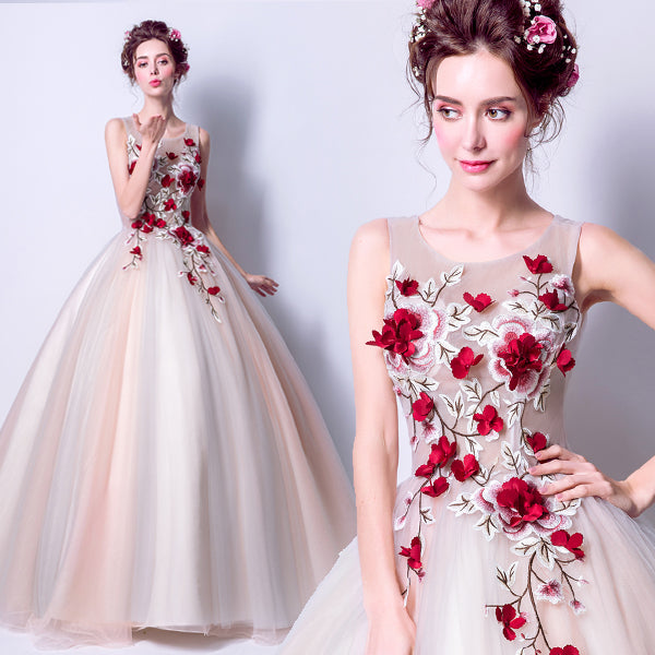 Flowers Embroidery Gauze Evening Party wear Prom Dress CODE: mon522