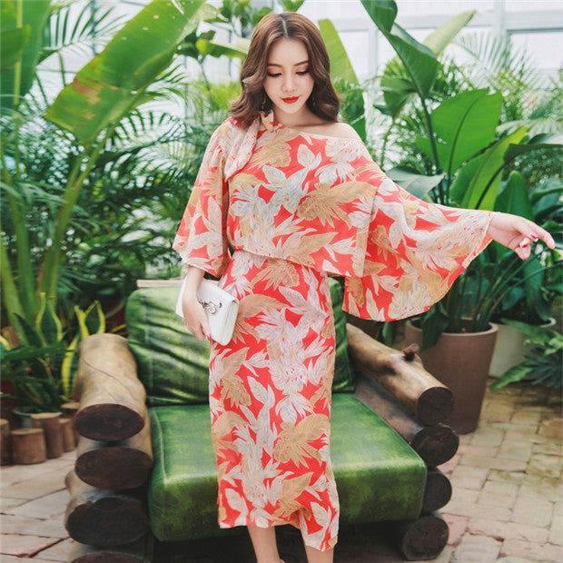 Off Shoulder Floral Chiffon 2piece Long dress Set CODE: mon525