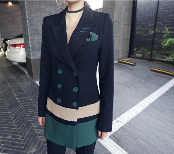 Block Double-breasted Tailored Collar Suit Set CODE: mon528