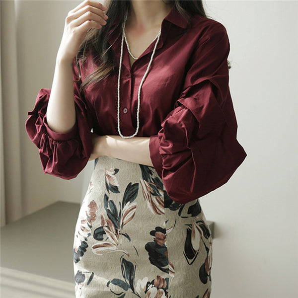 Puff Sleeve Blouse with high waist skirt Set CODE: mon530