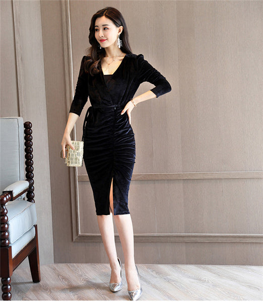 V-neck Pleated Slim Velvet Dress CODE: mon546
