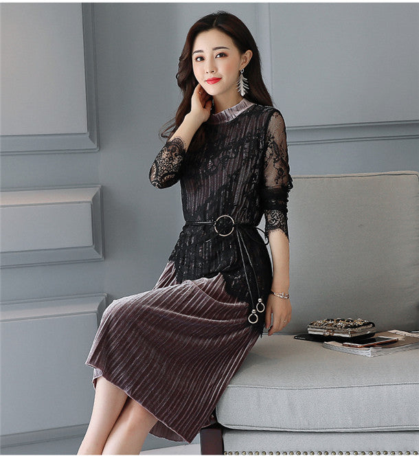 Lace Long Sleeve Pleated Velvet Dress CODE: mon547