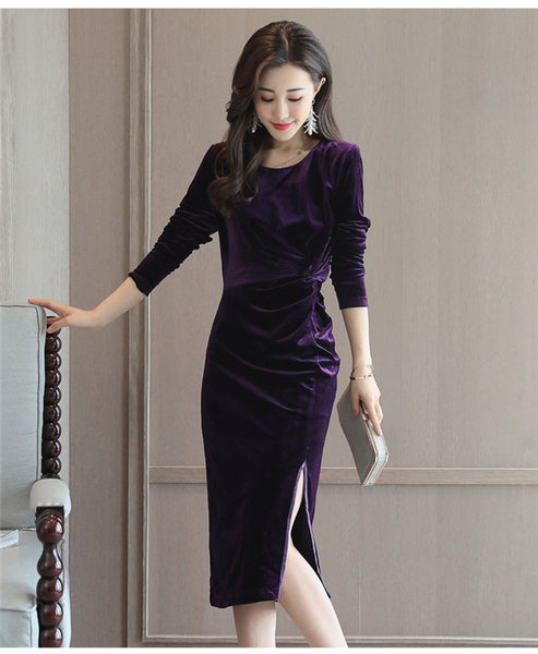 Round Neck Slit Velvet Dress CODE: mon548