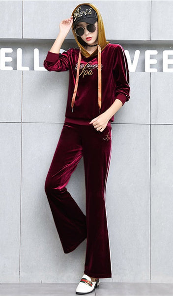 Letters Embroidery Hooded Velvet Suit set CODE: mon552