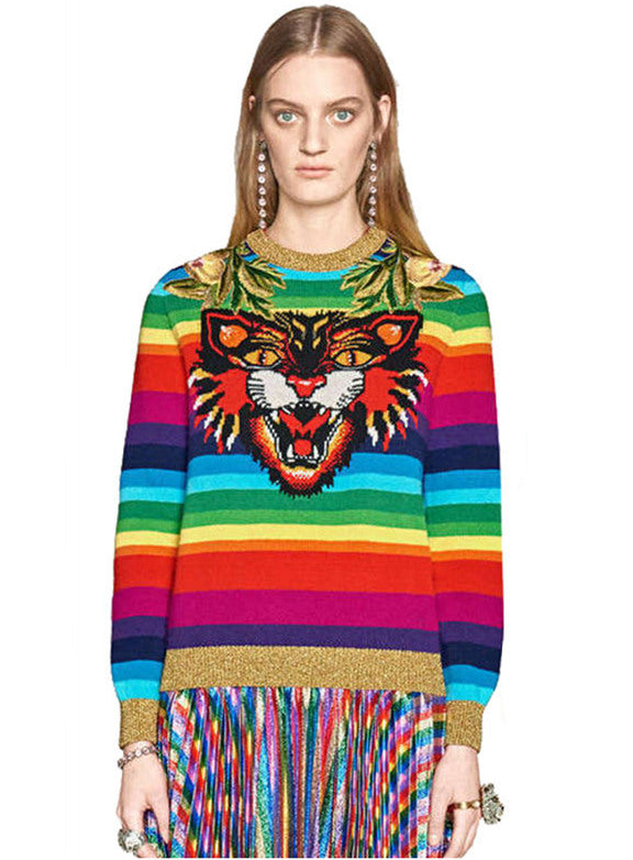 Round Neck Tiger Embroidery  Stripes Sweater Pullover CODE: mon558