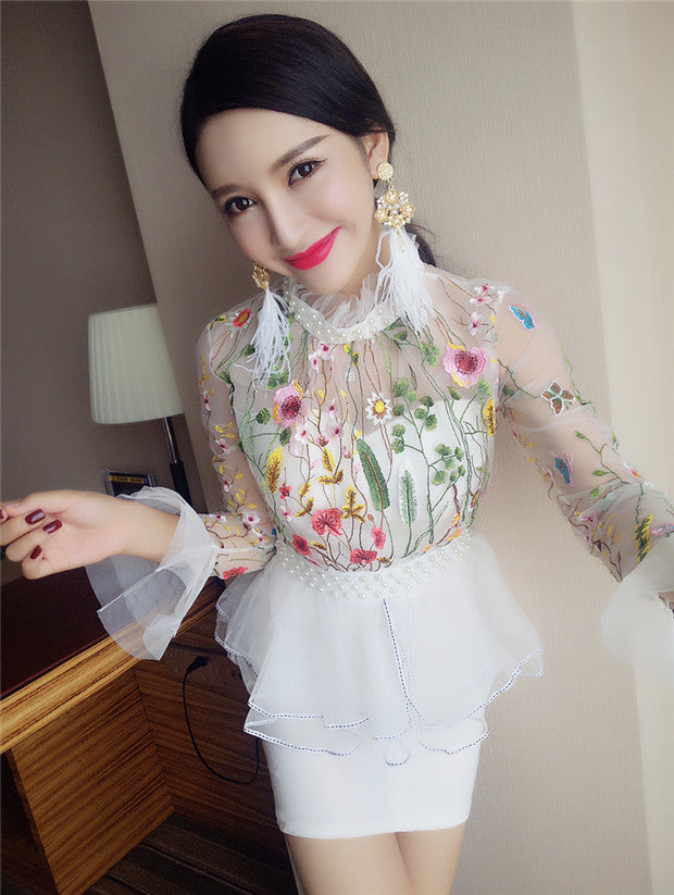 Beads Flowers Embroidery Slim Dress CODE: mon559
