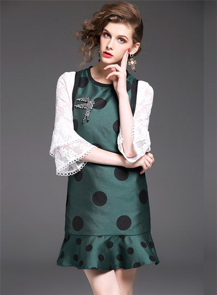 Lace Sleeve Rhinestones Dots Dress CODE: mon566