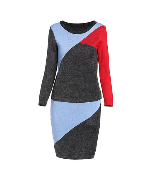 Block Round Neck Knitting Two Pieces Dress CODE: mon567