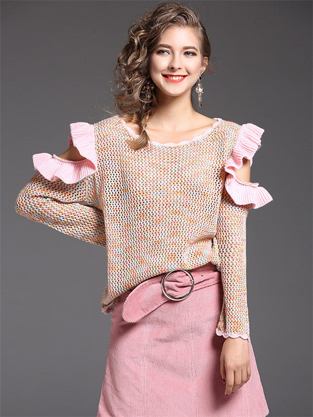 Round Neck Flouncing Loosen Knitting Sweater CODE: mon572
