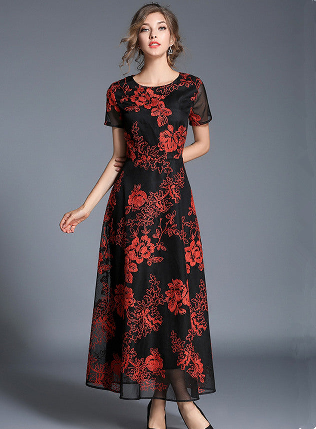 Round Neck Lace Embroidery Gauze Maxi Dress CODE: mon578