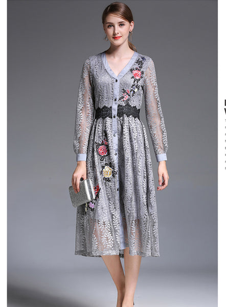 V-neck Flowers Embroidery Lace Dress CODE: mon587