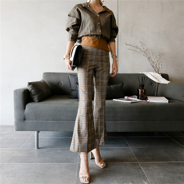 Loosen Blouse with Plaids High Waist Pants CODE: mon595