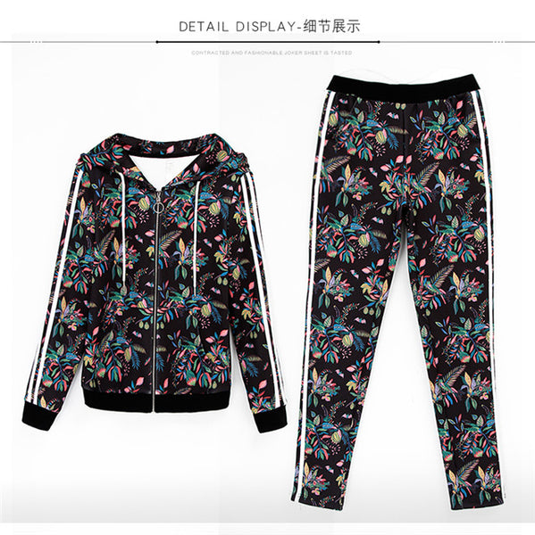 3 Colors Flowers Hooded Sports Suits Set CODE: mon603