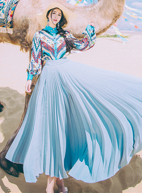 Flowers Puff Sleeve Blouse with Pleated Long Skirt CODE: mon607