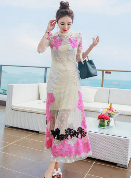 Block Lace Embroidery Maxi Dress CODE: mon608