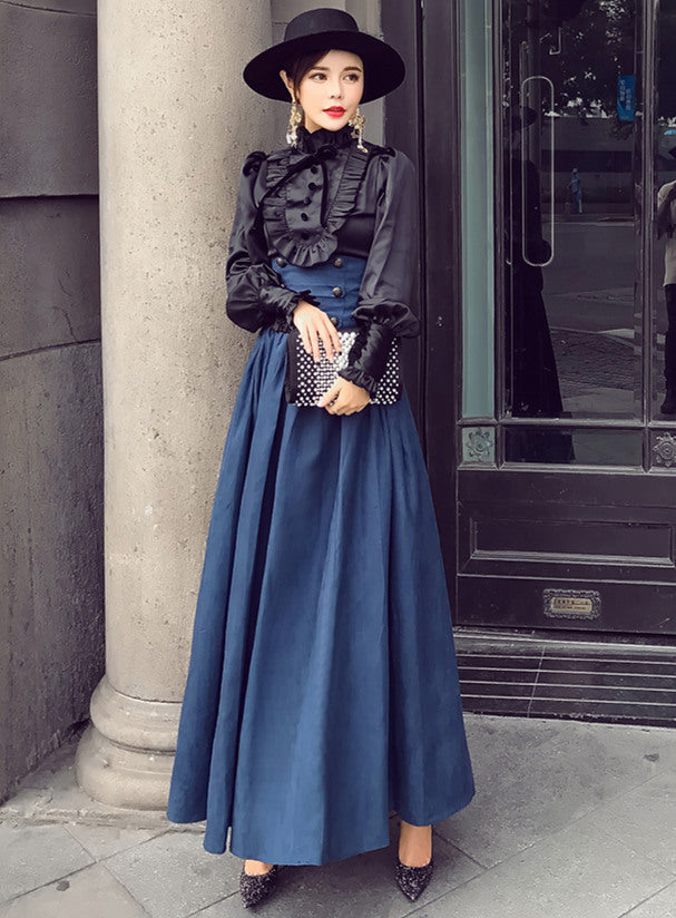 Puff Sleeve Blouse with High Waist Pleated Long Skirt Set CODE: mon612