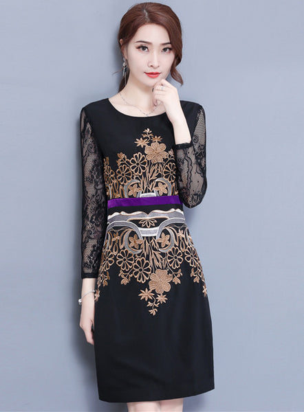 Lace Sleeve Flowers Embroidery Slim Dress CODE: mon621