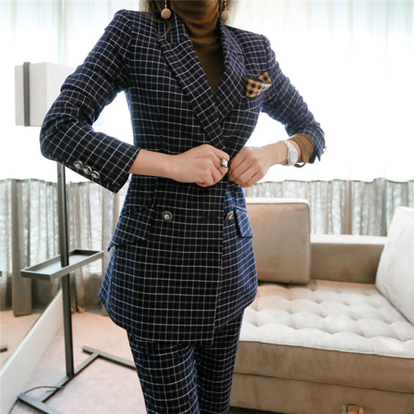 Tailored Collar Plaids Slim Suits set CODE: mon626