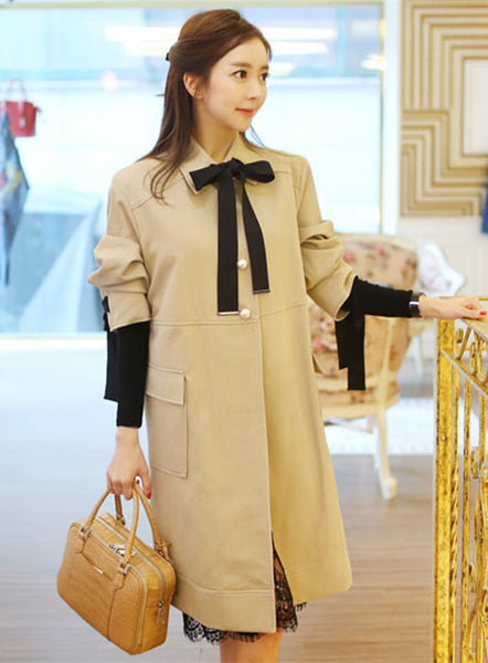 Bowknot  Collar Loosen Dust Coat CODE: mon629