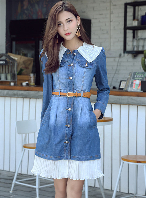 Detachable Plated Collar Denim Dress CODE: mon632
