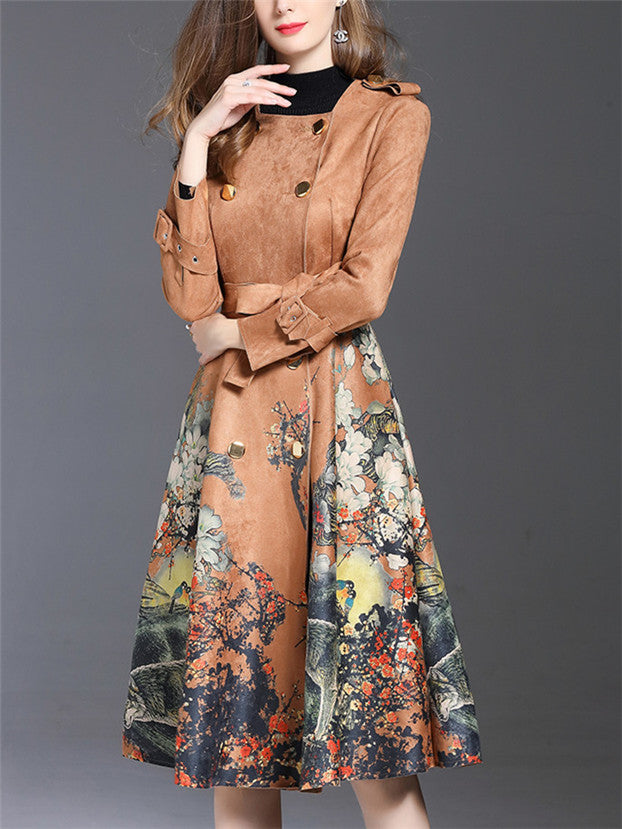 Double-breasted Flowers Suede Long Dust Coat CODE: mon633