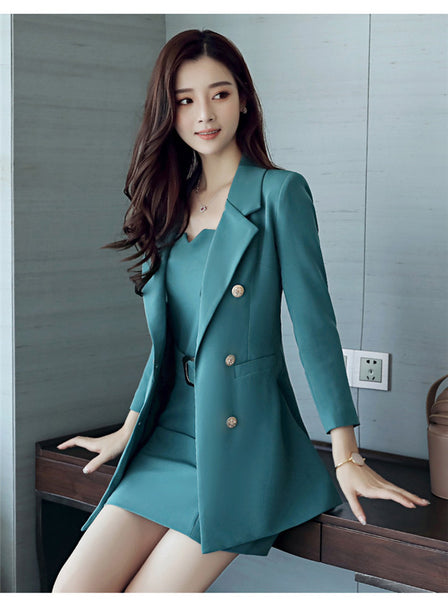 Tailored Collar Double-breasted Slim Dress Set CODE: mon641