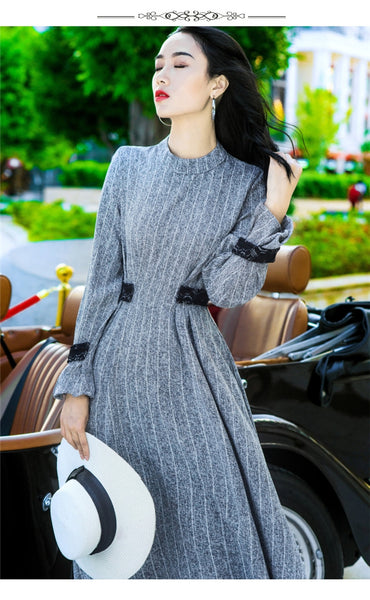 High Waist Stripes Long Sleeve Maxi Dress CODE: mon642