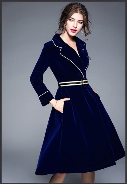 Tailored Collar Velvet Coat Dress CODE: mon650