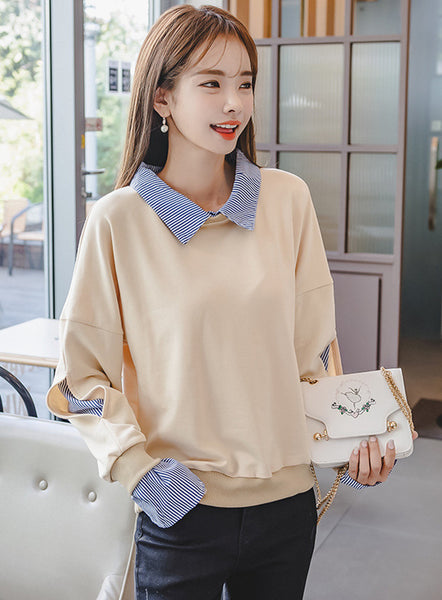 Stripes Doll Collar Splicing Loosen T-shirt CODE: mon660