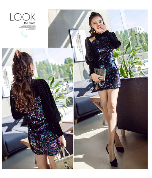 Bowknot Collar Hollow Out Sequins Velvet Dress CODE: mon665