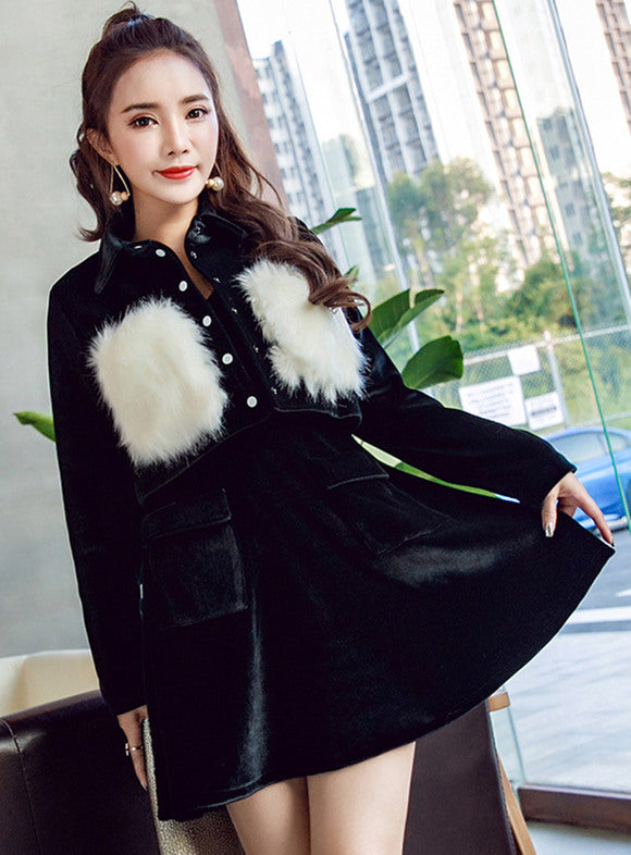 Fur Splicing Velvet Coat Slim Tank Dress CODE: mon666