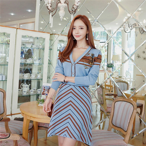 Beadings Stripes Knitting Dress Set CODE: mon671
