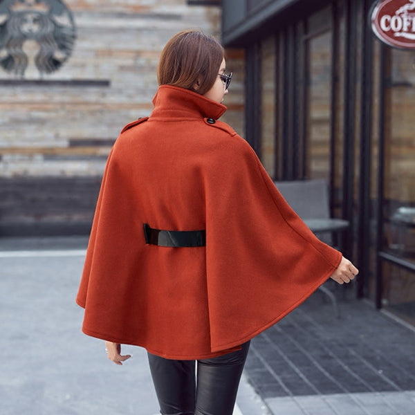 Stand Collar Double-breasted Cape Coat CODE: mon677