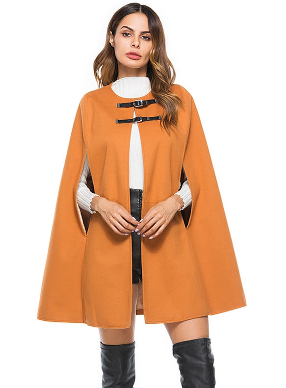 Leather Buckles Woolen Cape Coat CODE: mon679