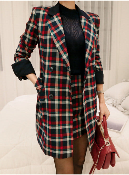 Tailored Collar Plaids Woolen Two Pieces Set CODE: mon680