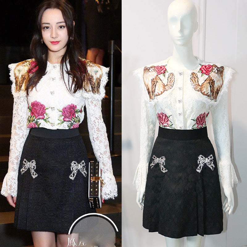 Lace Flowers Embroidery Top  Jacquard Skirt Set CODE: mon684