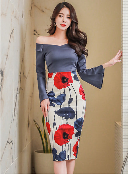 Boat Neck Flare Sleeve Flowers Dress Set CODE: mon698