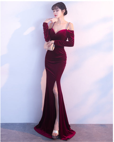 Slit Velvet Prom Dress CODE: mon700