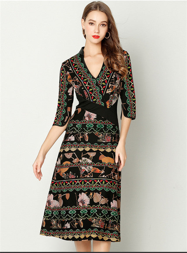 Retro  V-neck Print Mid-sleeve Slim Dress CODE: mon701