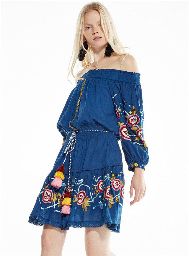 Boat Neck Flowers Embroidery Loosen Dress CODE: mon710