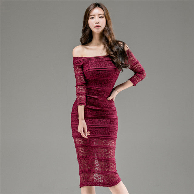 Boat Neck Hollow Out Lace Skinny Dress CODE: mon716