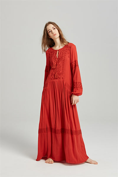 2 Colors Embroidery Flowers Linen Maxi Dress CODE: mon727