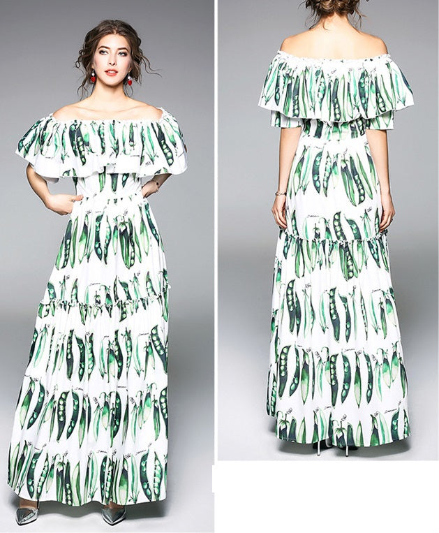 Boat Neck Peasecod Maxi Dress CODE: mon730