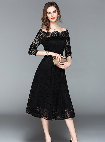 Boat Neck Lace A-line Dress CODE: mon801