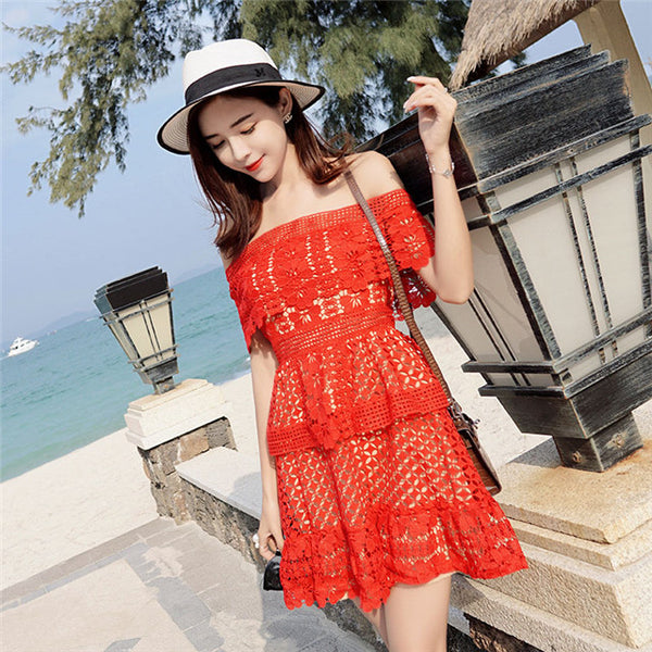 Boat Neck Lace Dress CODE: mon807