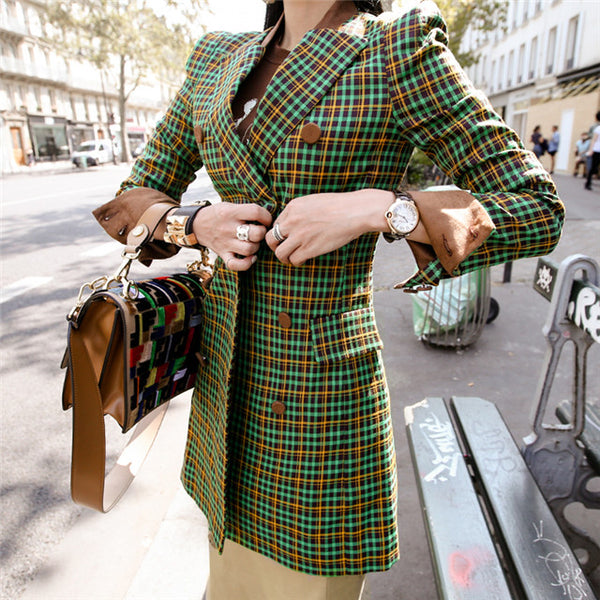 Plaids Slim Long Coat Dress CODE: mon886