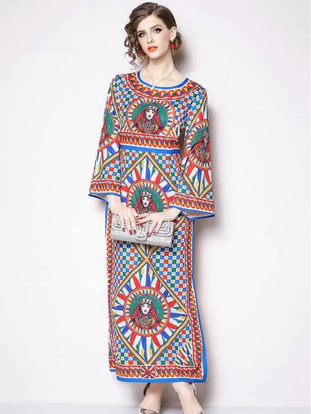 Retro High Waist Abstract Flowers Maxi Dress CODE: mon887